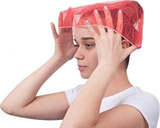 """100 Pack Red Bouffant Caps 21"""". Non Woven Hair Caps with elastic stretch band. Disposable Polypropylene Hats. Unisex Protective Hair Covers for food service, medical use. Breathable, Lightweight."""