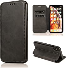 LanM Epoch Wallet Case Compatible for iPhone Xs/X, Premium Leather Wallet Case Business Credit Card Holder Folio Flip Cover for iPhone Xs/X 5.8 inch (Black)