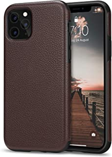 Tasikar Compatible with iPhone 11 Pro Case Protective Leather Cover TPU Bumper Design Hybrid Case (Brown)