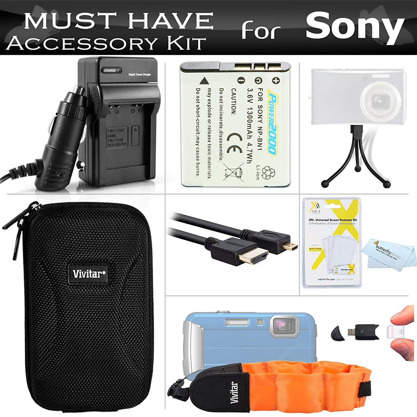 Must Have Accessory Kit For Sony Cyber-shot DSC-TX200V, DSC-TF1, DSC-TX30 Waterproof Digital Camera Includes Replacement NP-BN1 Battery + Ac/Dc Charger + Micro HDMI Cable + Float Strap + Case + More czc3211270