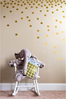 Posh Dots Metallic Gold Circle Wall Decal Stickers for Festive Baby Nursery Kids Room Trendy Cute Fun (200 Decals) Vinyl Removable Round Polka Dot Decor Safe for Wall Paint Confetti
