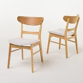 Christopher Knight Home Idalia Fabric/Oak Finish Dining Chair (Set Of 2), Light Beige