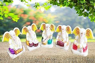 KD HUB Lord Ganesha Idol God Ganpati Ganesh Car Dashbaord Statue Spiritual Puja Vastu Showpiece Fegurine - Set of 5 Religi...