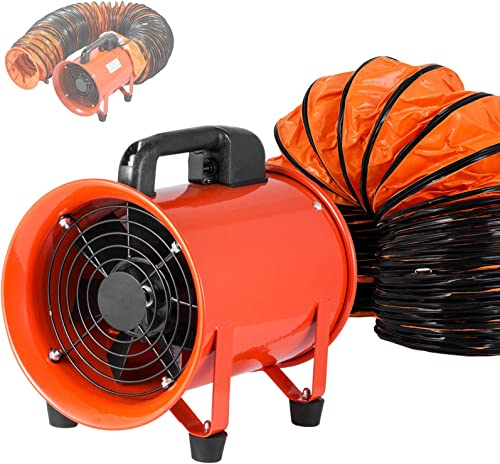 wholesale OrangeA Utility Blower 8 Inch 3300 RPM Portable Ventilator High Velocity Utility Blower Fan Exhaust Axial Hose Fan with 10M Vinyl Hose wholesale (8 online sale Inch 10M), orange outlet sale