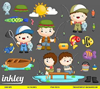 Fisherman Clipart, Fishing Clip Art, Fishing Rod Png, Fish Clipart, Hobby Clipart, Lake Clipart, Nature Clipart, Acivity Clipart, Summer