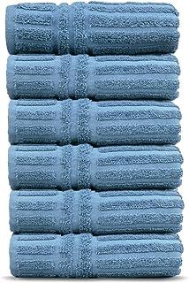 Chakir Turkish Linens Luxury Hotel & Spa Collection Stripe Pattern Turkish Cotton Towels (Stripe - Hand Towels, Wedgewood)