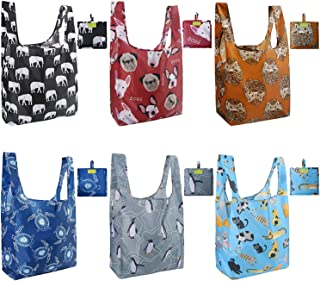 Reusable Grocery Bags Set, Grocery Tote Foldable into Attached Pouch, Ripstop Polyester Reusable Shopping Bags, Washable, Durable and Lightweight W15*H16*D6 Animal 6 Pack
