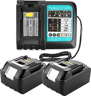 Lot de 2 chargeurs de rechange 4A DC18RD avec batterie 18 V 5 Ah pour radio de chantier Makita DMR112 DMR110 DMR115 DMR114 DMR107 DMR108 DMR109 DMR106 18 V