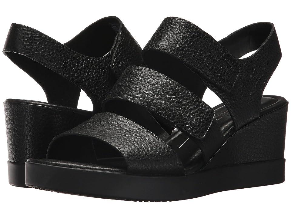 ECCO Shape Wedge Plateau Sandal (Black Cow Leather) Women
