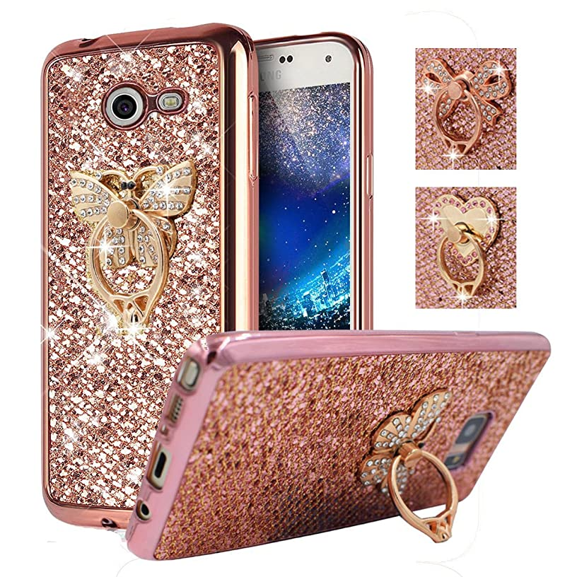 Galaxy J3 2017, J3 Emerge, (Not for J3 Prime), Amp Prime 2, Express Prime 2 Case, Best Share Soft Glitter Slim Fit Bling TPU Back Cover, Rose Gold-Butterfly Metal Ring Kickstand