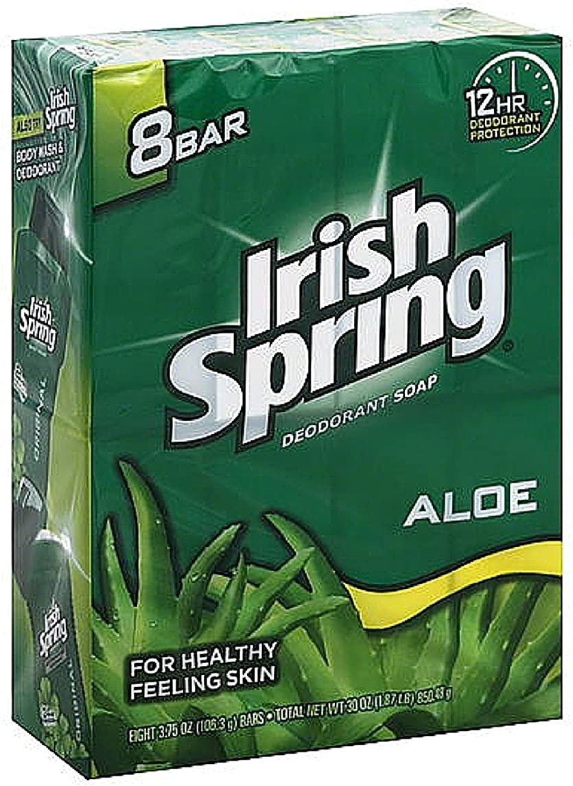 剥離速度休戦Irish Spring アロエデオドラント石鹸、3.75オズバー、8 Eaは(9パック)