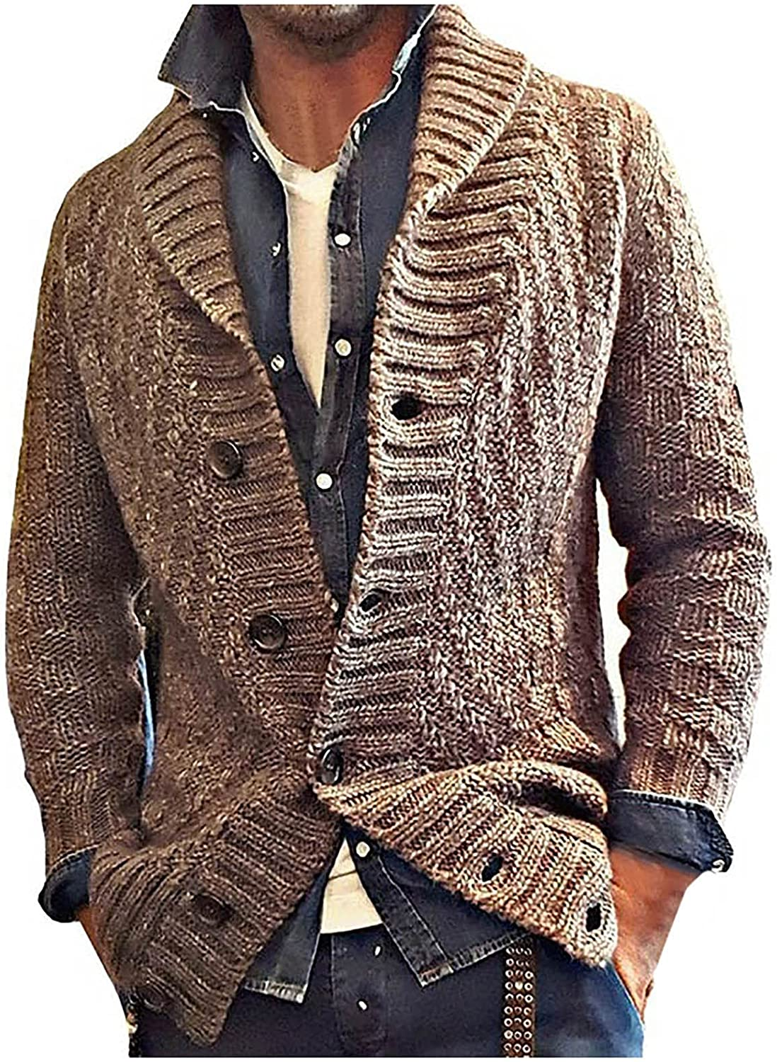 Huangse Men's Button Up Cardigan Sweater Slim Fit Wool Blend Ribbed Cuff Plaid Twill Knitted Shawl Collar Sweater Jacket