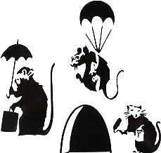 uksellingsuppliers ® Muisgat Banksy Set van drie KLEINE BANKSY RAT MET VERF TIN EN ROLLER/PARATROOPER/UMBRELLA Plint Muurs...