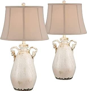 Isabella Cottage Table Lamps Set of 2 Rustic Crackled Ivory Ceramic Jar Handcrafted Beige Bell Shade for Living Room Family - Regency Hill