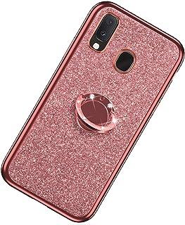 Funda Compatible con Samsung Galaxy A20e.KunyFond Funda Carcasa Case Anillo Soporte Movil Purpurina Brillantes Diamante Li...