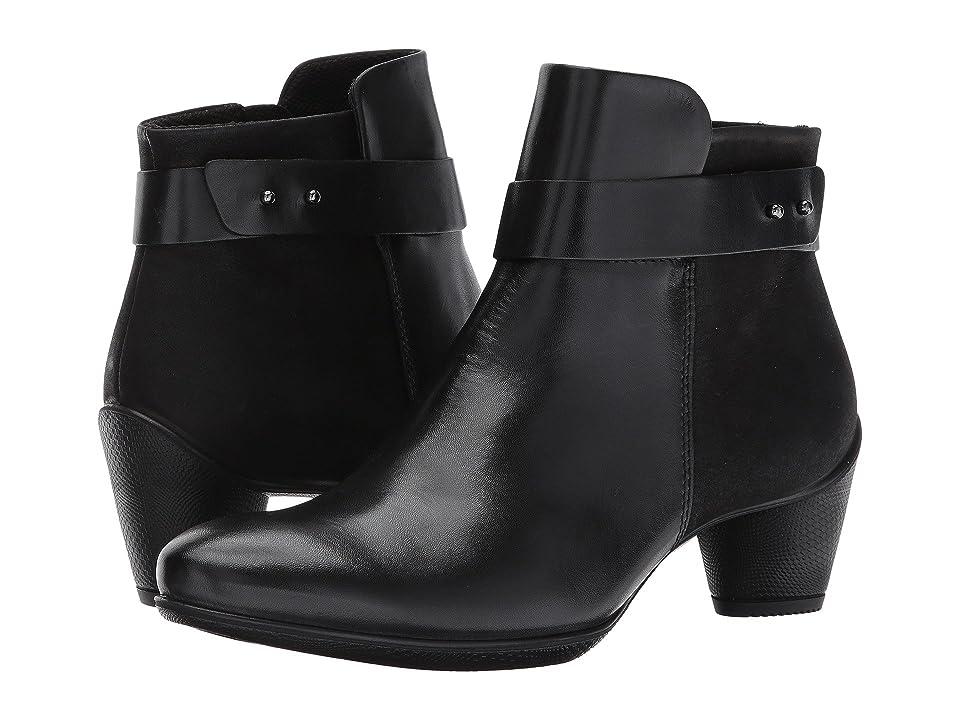 ECCO Sculptured 45 Buckle Boot (Black/Black Leather/Cow Nubuck) Women