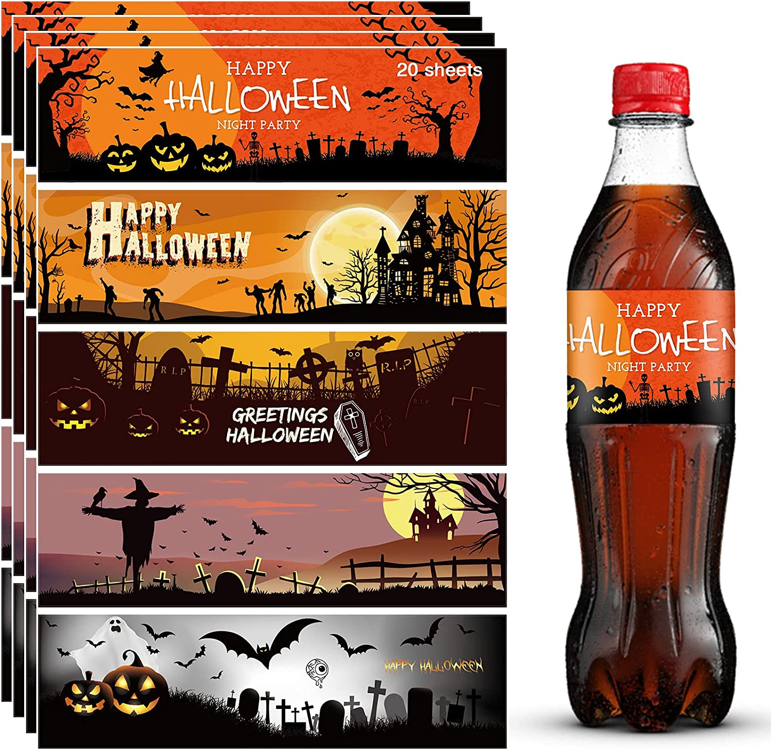 100Pcs Halloween Water Bottle Labels Stickers, Halloween Party Decorations Halloween Party Favors Waterproof Water Bottle Wrappers Wine Drink Jars Bottles Labels Decor for Gifts Photo Props (5 Style)