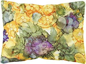 Caroline's Treasures 8958PW1216 Abstract Flowers Purple and Yellow Fabric Decorative Pillow, 12H x16W, Multicolor