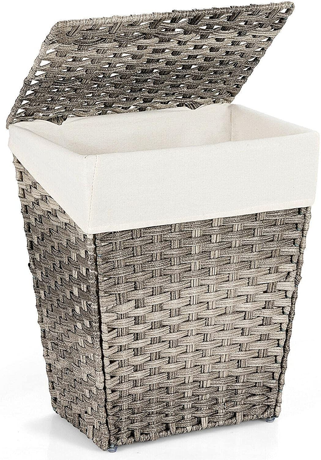 Handwoven Laundry Hamper Foldable w Removable Popular overseas Lid Max 67% OFF Liner Handl