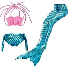 Jasmey 3 Pcs Girls Mermaid Swimsuit Swimwear Mermaid Tail for Swimming Bathing Suit Bikini Set Mermaid Princess Costume