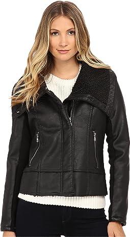 PU w/ Oversize Sherpa Collar Moto Jacket