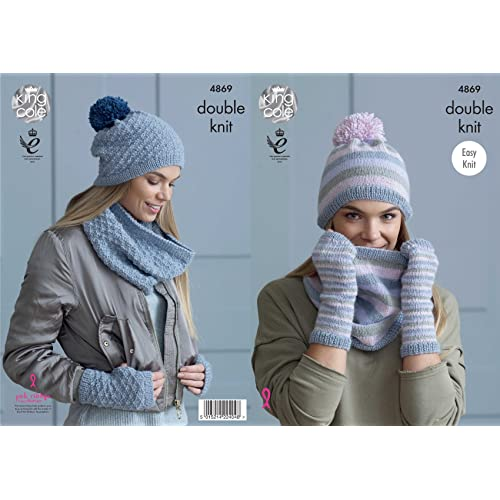 King Cole Ladies Double Knitting Pattern Easy Knit Womens Snoods Hats    Mitts (4869) 9616d131c36
