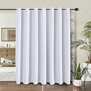 WONTEX Room Divider Curtain- Total Privacy Thermal Blackout Curtains for Bedroom Partition, Living Room and Shared Office, Grommet Curtain Panel for Patio Door, 8.3ft Wide x 7ft Long, Greyish White