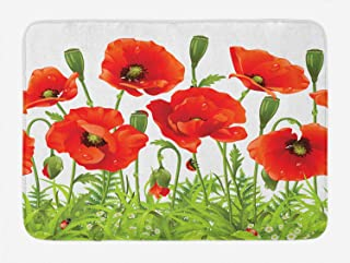 Lunarable Ladybugs Bath Mat, Horizontal Border with Red Poppy Flower Bud Poppies Chamomile Wildflowers Lawn, Plush Bathroom Decor Mat with Non Slip Backing, 29.5