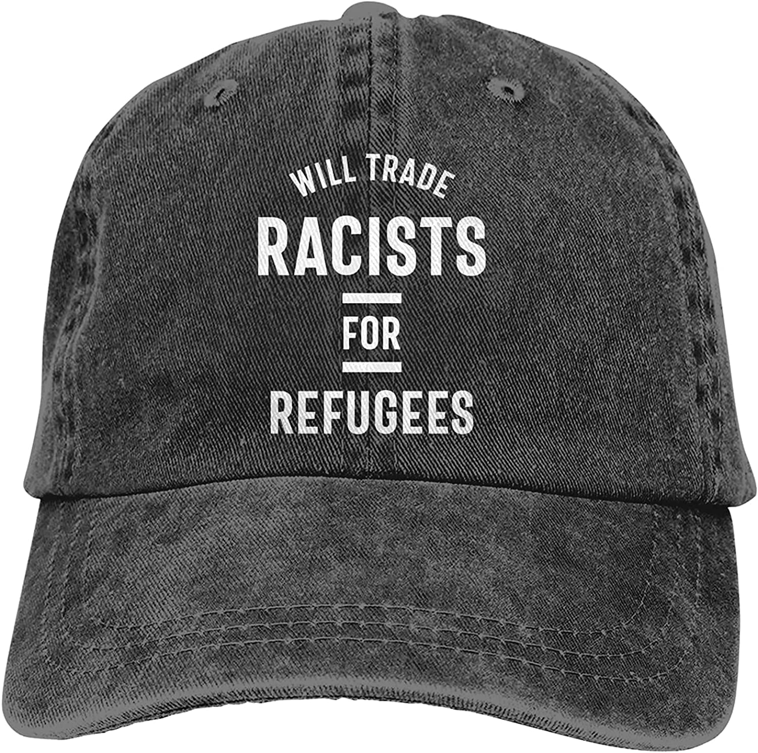 BGWORZD Will Trade Racists for Refugees Adjustable Washed Dad Hat Cowboy Cap Denim Cap Baseball Cap