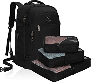 Hynes Eagle Travel Backpack 40L Flight Approved Carry on Backpack Black with 3PCS Packing Cubes 2018