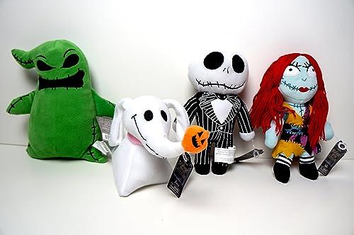 The Nightmare Before Christmas Set of 4 Halloween Plush - Zero, Jack Skellington, Sally, and Oogie Boogie by Disney