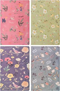Lined Journal Notebook Dairy Book Journal Record A5 Flowers Softcover Composition Book, Pack of 4