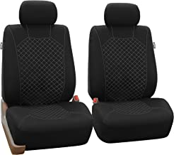 FH Group FB066WHITE102 White Fabric Cloth Seat Cover Front with Ornate Diamond Stitching, Set of 2 (Airbag Compatible)