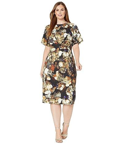 Adrianna Papell Plus Size Golden Girl A-Line Draped Dress (Gold Multi) Women