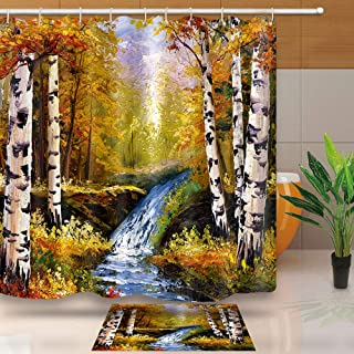 Fall Shower Curtain, Birch Forest Waterproof Fabric for Bathroom Accessories, No Liner Needed, Weight Hem, 72 X 72 Inches, LHNT163-72