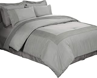 Chezmoi Collection 8 Piece Pleated Hem Solid Bed-in-a-Bag Comforter Set, California King, Gray