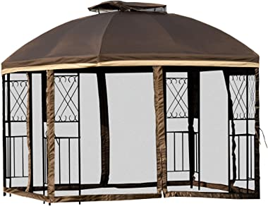 Outsunny 10' x 10' Outdoor Patio Gazebo Canopy with Double Tier Roof, Removable Mesh Curtains, Display Shelves, Brown