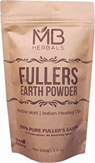 MB Herbals 100% Pure Fullers Earth Powder 100g | 3.5oz | Multani Mitti Facial Clay Bentonite Indian Healing Clay | No Preservatives | No Bleaching Agents | No Added Fragrance| Fuller's Earth