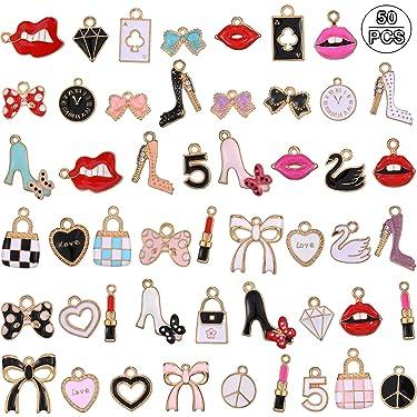 50 Pieces Women Makeup Charms Enamel Rhinestone Charms Colorful Rhinestone Pendant Lipstick Diamond Shoes Bag Charms for Women Jewelry DIY Making Decor