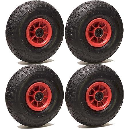LOT de 4 x roue gonflable diable 260 x 85 (3.00-4) alésage 20 mm roulement à rouleaux