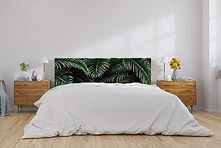 Cabecero Cama PVC Hojas Tropicales Fondo Negro 135x60cm | Disponible en Varias Medidas | Cabecero Ligero, Elegante, Resistente y Económico