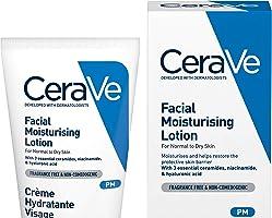 CeraVe Loción Hidratante de Rostro  52ml  Hidratante facial de noche con textura ultraligera   Libre de fragancia