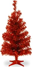 National Tree 2 Foot Black Tinsel Tree with Plastic Stand (TT33-704-20-1), Red, 3 feet