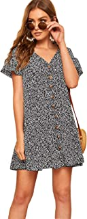 Women's Loose Floral Print Button Up Ruffle Hem Short Sleeve Tunic Dress
