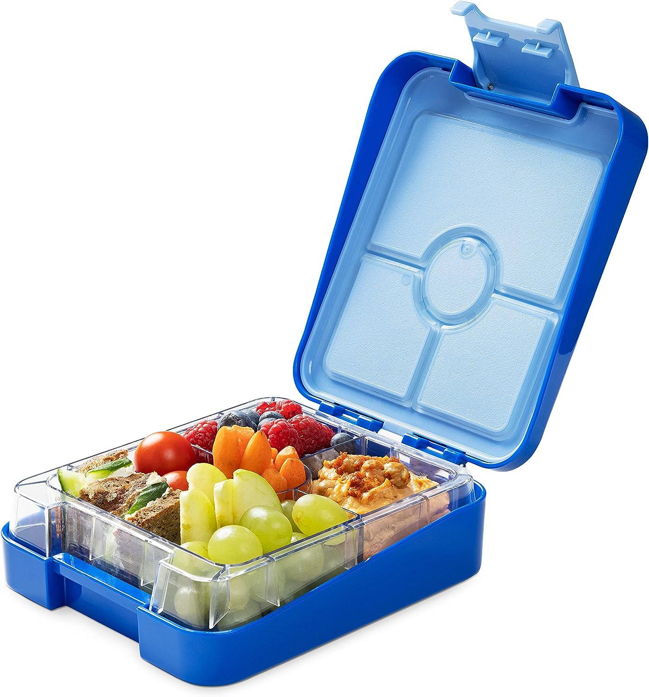 Navaris Fiambrera hermética para Comida - Lunch Box sin BPA con divisores - Bento Box para merienda Almuerzo Desayuno Cena de niños y Adultos - Azul