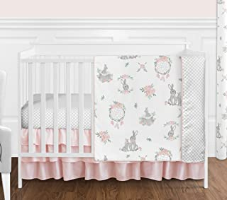 Sweet Jojo Designs Blush Pink and Grey Woodland Boho Dream Catcher Arrow Gray Bunny Floral Baby Girl Nursery Crib Bedding Set Without Bumper - 4 Pieces - Watercolor Rose Flower