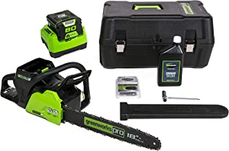 Greenworks CS80L210 18-Inch 80V Cordless Chainsaw with Hardcase/Extra Bar and Chain Oil