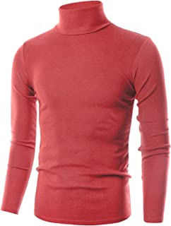 OHOO Mens Slim Fit Soft Cotton Pullover Lightweightweight Turtleneck