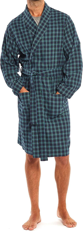 Cotton Soft Lightweight Elegant Mens Kimono Bathrobe Savile Row Men/'s Dressing Gown