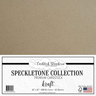 Kraft SPECKLETONE Recycled Cardstock Paper - 12 x 12 inch - Premium 100 LB. Cover - 25 Sheets
